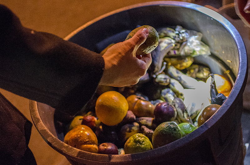 On Wednesday, February 20, 2013, the uptown freegan group found a bucket full of fruits and vegetables on the side of the road in Washington Heights.