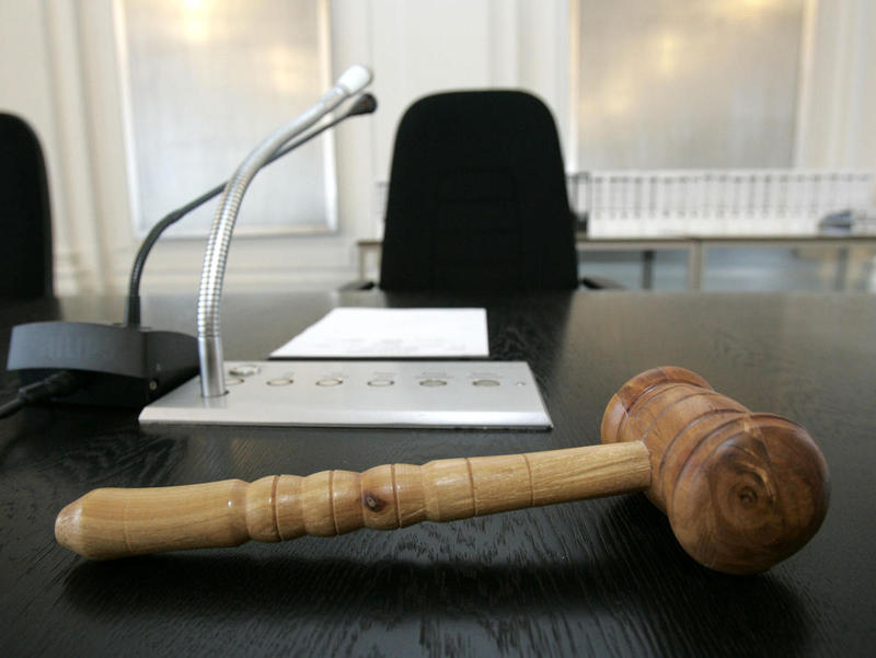 A gavel on a judge's desk