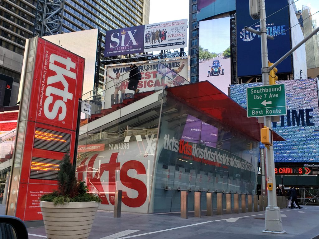 A TKTS booth in Times Square