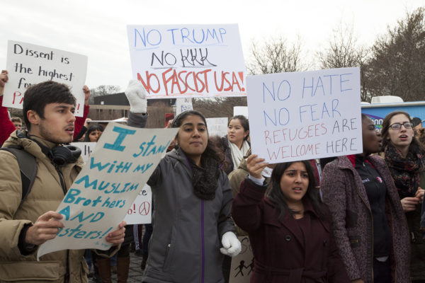 Stony Brook community denounces travel ban at two separate protests